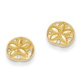 Sand Dollar Earrings 14k Gold Diamond-cut TC766