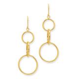 3 Circle Dangle Wire Earrings 14k Gold TE363