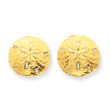Sand Dollar Post Earrings 14k Gold TE636