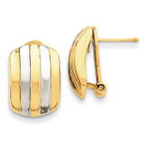 Ribbed Omega Back Post Earrings 14K Gold & Rhodium TF217