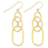 3 Tier Oval Dangle Wire Earrings 14k Gold TH383