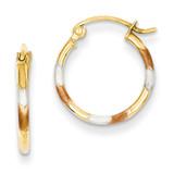 1.5mm Diamond Cut Hoop Earrings 14k Gold & White and Rose Rhodium TL640