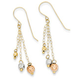 Strands with Diamond Cut Bead Earrings 14k Tri-Color Gold TL859
