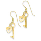 Puff Heart Lock and Key Earrings 14k Gold TL869
