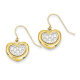 Diamond Cut Heart Dangle Earrings 14k Two-Tone Gold TL957