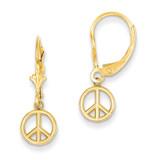 Peace Sign Dangle Leverback Earrings 14k Gold Polished TL958