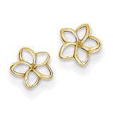 Plumeria Post Earrings 14k Gold TM734