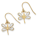 Diamond-cut Dragonfly Shepherd Hook Earrings 14K Gold & Rhodium TM747