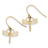 Dragonfly Shepherd Hook Earrings 14k Gold TM748