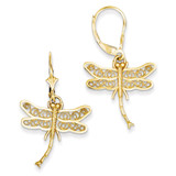 Dragonfly with Filigree Wings Leverback Earrings 14k Gold TM750