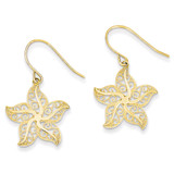 Filigree Starfish Shepherd Hook Earrings 14k Gold TM759