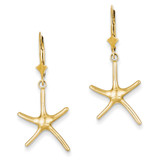Starfish Leverback Earrings 14k Gold Polished TM768