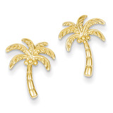 Palm Tree Post Earrings 14k Gold TM774