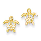 Peace Turtle Post Earrings 14k Gold TM777