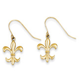 Fleur de lis Dangle Earrings 14k Gold Polished TM791
