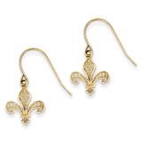 Fleur de lis Shepherd Hook Earrings 14k Gold TM792