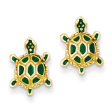 Green Enameled Turtle Post Earrings 14k Gold TP165