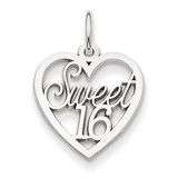 Sweet 16 Heart Charm 14k White Gold WCH26