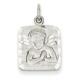Satin & Diamond-cut Angel Charm 14k White Gold WCH48