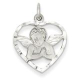 Angel in Heart Charm 14k White Gold WCH51
