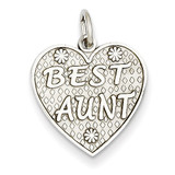 Best Aunt Charm 14k White Gold WCH67
