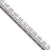 Holds 34 3.4mm Stones 5.1ct Square Link Tennis Bracelet Mounting 14k White Gold X2164W