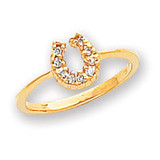 0.10ct. Diamond Horseshoe Ring Mounting 14k Gold Polished X5238