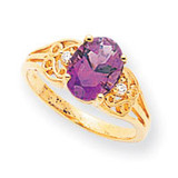 0.04ct. Diamond & 9x7 Oval Gemstone Filigree Ring Mounting 14k Gold Polished X6106