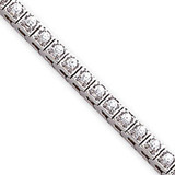 Holds 44 2.2mm Stones 1.8ct Square Link Tennis Bracelet Mounting 14k White Gold X755W