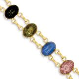 7 Stone Scarab Bracelet 14k Gold X9