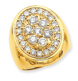 Circular Top 3ct Mens Diamond Ring Mounting 14k Gold Polished X9426