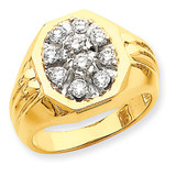 Fancy Ridged-Sides 1ct Mens Diamond Ring Mounting 14k Gold X9442