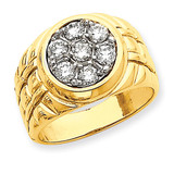 Fancy Ridged-Sides Men's Ring Mounting 14k Gold X9444