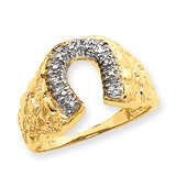 Mens Diamond Horseshoe Ring Mounting 14k Gold X9461