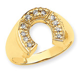 Mens Diamond Horseshoe Ring Mounting 14k Gold X9462