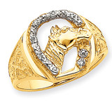 Diamond Horseshoe with Horse in Center Mens Ring Mounting 14k Gold X9463