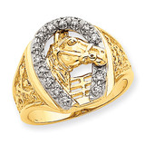 Mens Horseshoe with Horse in Center Ring Mounting 14k Two-Tone Gold X9464