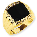 Ridged-Sides Mens Diamond and Onyx Ring Mounting 14k Gold X9471