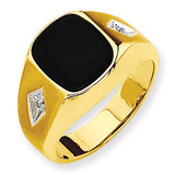 Mens Diamond and Onyx Ring Mounting 14k Gold Polished X9472