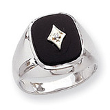 Polished Mens Diamond And Onyx Ring Mounting 14k White Gold X9478W