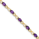 7x5mm Oval Amethyst bracelet 14k Gold X951AM