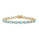 6x4mm Oval Blue Topaz bracelet 14k Gold X960BT