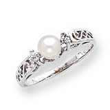 Polished .04ct. Diamond & Cultured Pearl Ring Mounting 14k White Gold X9626
