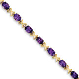 7x5mm Oval Amethyst bracelet 14k Gold X962AM