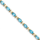 7x5mm Oval Blue Topaz bracelet 14k Gold X962BT