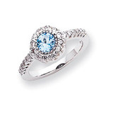 5mm Blue Topaz Diamond ring 14k White Gold X9641BT/AA