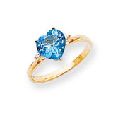 7mm Heart Blue Topaz Diamond ring 14k Gold X9682BT/AA
