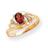 6x4mm Oval Garnet Diamond ring 14k Gold X9716GA/AA