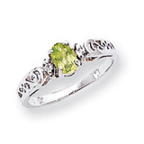 6x4mm Oval Peridot Diamond ring 14k White Gold X9735PE/AA