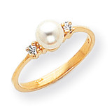 5mm Cultured Pearl Diamond ring 14k Gold X9754PL/AA